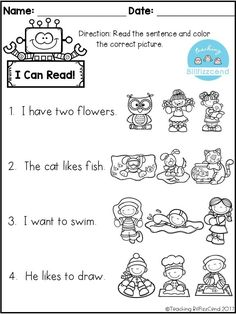 FREE Reading comprehension activities! Great for pre-k, kindergarten, first grade or ESL students. free reading comprehension, free kindergarten reading, free kindergarten printables, tpt freebies, first grade reading, pre-k reading, picture comprehensio