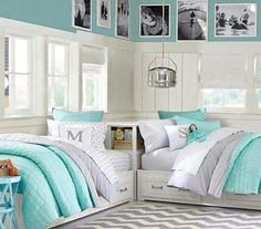 Blue grey and white bed for a bed room