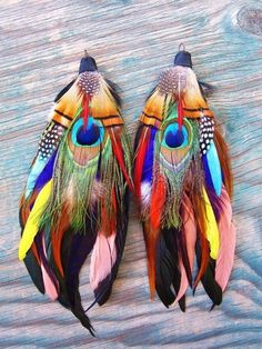 colourful peacock feather earrings