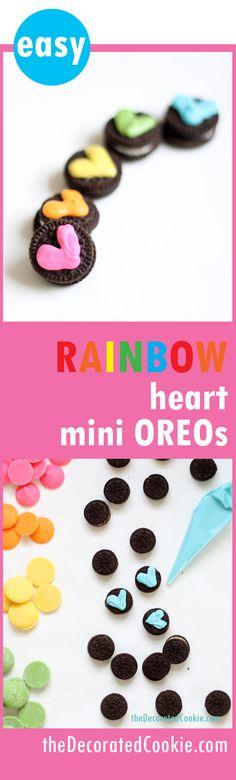 rainbow heart mini OREO cookies -- cute and easy Valentine's day treat