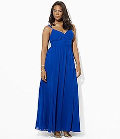 Lauren Ralph Lauren Woman Shirred Georgette Gown #Dillards