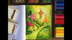 Coloring with colored pencils, watercolor, markers in Coloring Book