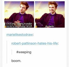 The fact that nobody hates Twilight more than Robert Pattinson makes me like him even more.
