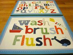 Art for Kids Bathroom 16x20 Made to match ABC PBK shower curtain. $53.00, via Etsy.