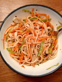"Ponzu Noodles from the ""Forks Over Knives"" recipe book: Whole Foods, Plant Strong, Gluten-Free and Vegan."