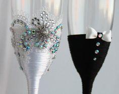 Copas champán gafas gafas rústico de novia Champagne por shopKristi