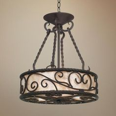 "Natural Mica Collection 17"" Wide Pendant Chandelier - Definite possibility in entry 17""W 51/4"" canopy 19 3/4 H, 6' of chain, 16lbs"