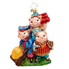 Christopher Radko Piggly Constructors Three Little Pigs Ornament Christmas Story Books, Old World Christmas Ornaments, Christmas Fun, Christmas Decorations, Holiday Decor, Christopher Radko Ornaments, Three Little Pigs, Glass Ornaments, Halloween