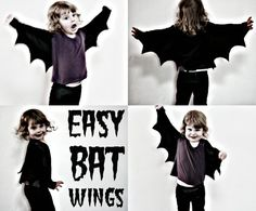 These bat wings are a fun and really easy to make addition to any dress up box. They only took me around ten minutes to whip up with some black lycra fabric I had laying about in m sewing room. Only one seam is required which you can do by hand if you don't have a sewing machine. These wings...