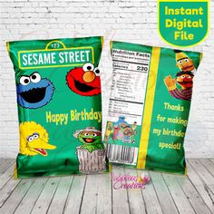 Sesame Street Birthday Invitations, 1st Birthday Party Favors, Boy First Birthday, Yellow Birthday, Birthday Ideas, Big Bird Sesame Street, Elmo Sesame Street, Seasame Street Party, Monster 1st Birthdays