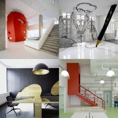 "Dezeen archive: offices Love the ""drawing"" in upper right pic - fun room idea!"