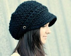 Crochet Hat Womens Hat Black Newsboy Hat Black Hat by pixiebell