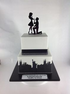New York theme engagement cake - Cake by classinacake
