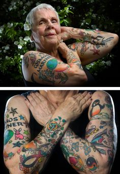"""Chicago resident and grandmother Helen Lambin likes it when young people stop her on the street to give her compliments on her tattoos, or when they simply yell out, """"Nice ink! She enjoys the fact that her tattoos Grandma Tattoos, Old Tattoos, Body Art, Ink, Young People, Awesome Art, Compliments, Chicago, Street"""