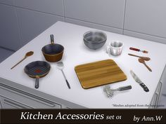 The Sims Resource: Kitchen Accessories Set 01 by annwang923 • Sims 4 Downloads