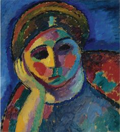Alexej von Jawlensky - Die Sinnende (The thinking woman), c. Oil on board, 58 x cm x 21 in. Abstract Portrait Painting, Figure Painting, Portrait Paintings, Portraits, Henri Matisse, Paul Klee, Degenerate Art, Franz Marc, Social Art