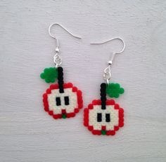 Cute Apple Perler Bead Earrings