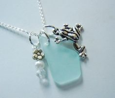 Frog Beach Glass Necklace Aqua Sea Glass by BeachGlassMemories