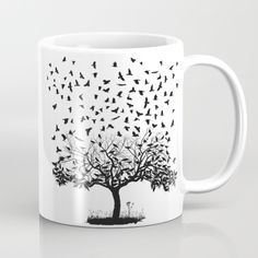 Crows In A Tree Coffee Mug by Vladimir Ceresnak - 11 oz Unique Coffee Mugs, Tea Mugs, Botany, Coffee Cups, Dishwasher, Plant Stem, Fancy, Ceramics, Cool Stuff