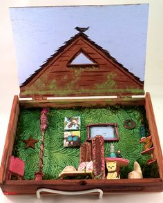 Fairy house red fairy door doll house furniture miniature fairies fairyland made in a travel cigar box car toy customize personalize CAST