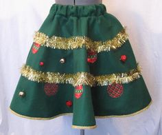 Ugly Tacky Christmas Sweater Party Mini Skirt Tree Tinsel Felt Circle Poodle