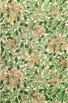 Morris & Co pattern to celebrate Midsummer: Honeysuckle, designed by May Morris circa 1883.