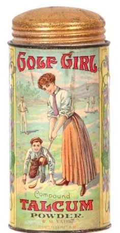 Golf Girl Talcum powder.  Tin looks too good to be old.Her dress is about 100 years old.  The label isn't even ripped anywhere.