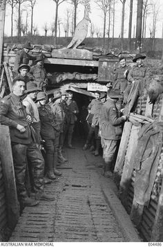 Jan 22 1918 Field Company of Australian Engineers at the entrance to the Catacombs - a system of tunnels built in Hill 63 Ww1 Soldiers, Wwi, 1914 1918, The Catacombs, Black Watches, World War One, Interesting History, Shtf, Sadness