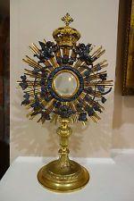 Antique French Brass Monstrance Reliquary Roman Catholic Altar Mass Religious