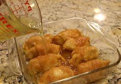 Peach Enchiladas...6 ingredients: crescent rolls, peaches, sugar, cinnamon, butter, and Sprite. Yes, Sprite!!