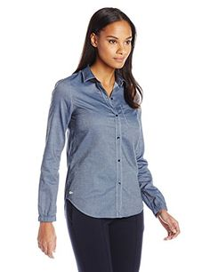 Lacoste Womens Long Sleeve Cotton Chambray Shirt, Indigo, 40 >>> You can find more details by visiting the image link.