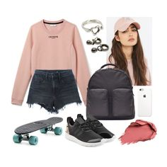 """outfit 62"" by racheeeeeee ❤ liked on Polyvore featuring Reason, Lacoste, Alexander Wang, adidas Originals, Tiffany & Co., Urban Decay, school, Pink, casualoutfit and skateboard"