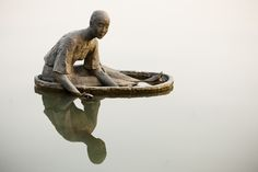 """"""" When we enter the quietness, the stillness, and just listen....we feel the aliveness that is all around us. """" - ( statue in the lake, Hangzhou, China )"""