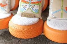 Paint old tires and fill them with padding (finished off with a nice throw pillow), and you have cool outdoor porch seating.