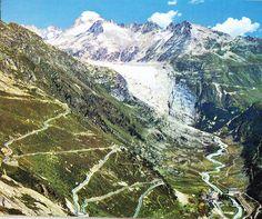 Switzerland - right = Furka Pas road (Furkastrasse) - left = Grimsel Pass road (Grimselstrasse). View of... on Open Travel