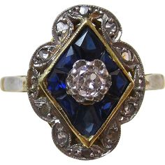 Romantic Art Deco Sapphire & Diamond Downton Abbey Vintage Ring 14K