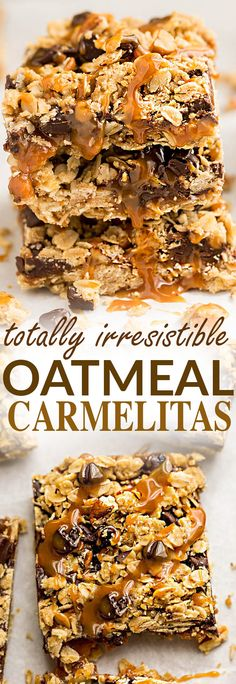 Oatmeal Carmelitas make the perfect easy decadent treat. Best of all, they're soft, chewy and full of delicious layers of oatmeal, chocolate and gooey caramel. Great for bringing along to dessert bars or any potluck or parties.