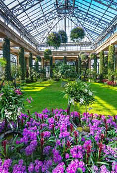 Longwood Gardens in Kennett Square, Pennsylvania. The 1,100-acre property includes a conservatory full of 2,300 types of orchids, towering topiaries, and fountains that put on dancing-water displays.