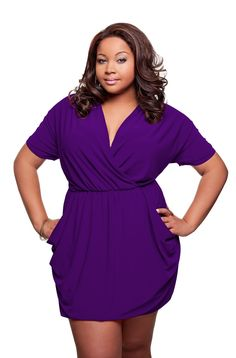 $69 Plus Size Length-Adjustable Dress in purple and worn short Plus Size summer www.shopf3.com