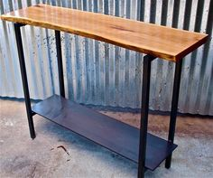 wood slab console table - Google Search