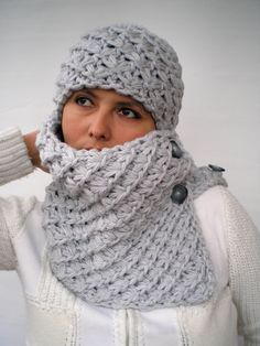 Pearl Grey Star Set Cowl and   Hat  Super Soft mixed by GiuliaKnit, $69.00