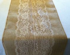 Burlap & Lace Table Runner with a Variety of Lace Color Options. Great for Weddings and Other Special Events. Rustic and Chic.