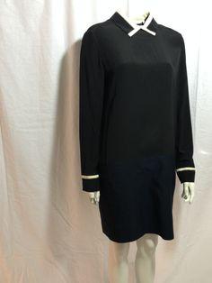 Victoria Victoria Beckham Black and Navy Dress — My Chelsea Wardrobe