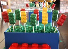 Easy Lego Pops ~ made using Nutty Bars and Smarties Candies