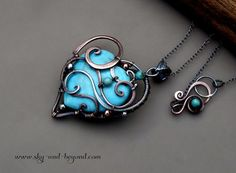 Love Copper Fine Silver Pendant Necklace with by SkyAndBeyond