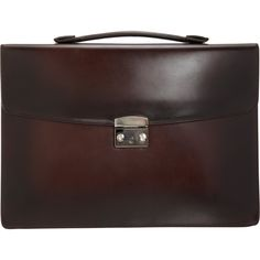 Araldi 1930 Burnished Briefcase at Barneys.com   Ultra-smooth burnished leather flap front briefcase with push lock closure, flat top handle and a large zip pocket at exterior back. Twill-lined, lightly padded interior with large slip pocket and zipped pocket, four leather card slots, a cell phone slip pocket and pen holder