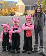 Three Little Pigs and Big Wolf Homemade Costume