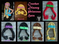 Crochet Disney Princess Hats on Etsy, $25.00