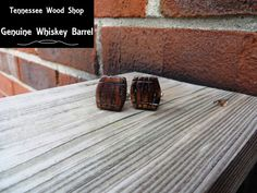 Little Whiskey Barrel Wood Cuff Links by TennesseeWoodShop on Etsy