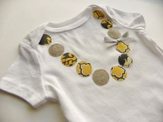 Baby Girl Neckalce Onesie, Size 0-3 months- Yellow and Gray Applique- Baby Gift